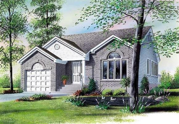 Narrow Lot, One-Story, Traditional House Plan 65074 with 3 Beds, 1 Baths, 1 Car Garage Elevation