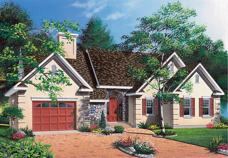 Ranch, Traditional House Plan 65095 with 3 Beds, 1 Baths, 1 Car Garage Elevation