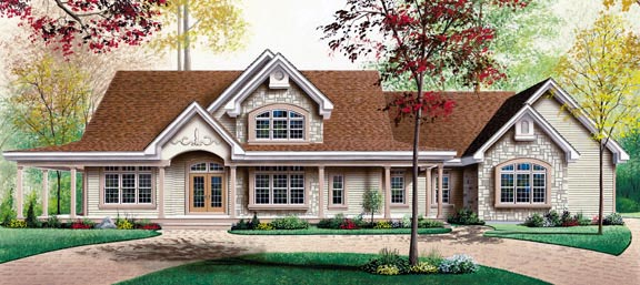 Country Ranch Traditional House Plan 65126 Elevation