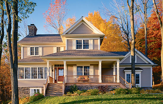 Elevation of Country   Farmhouse  House Plan 65135