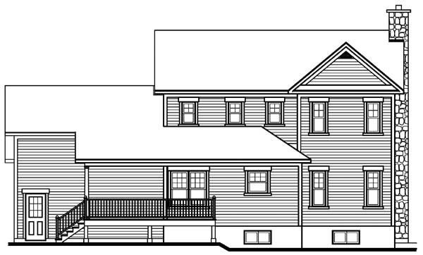 Rear Elevation of Country   Farmhouse  House Plan 65135