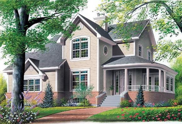 Country, Farmhouse, Victorian House Plan 65137 with 4 Beds, 3 Baths, 2 Car Garage Elevation
