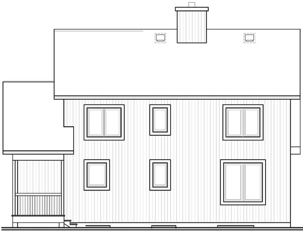 Contemporary Craftsman House Plan 65141 Rear Elevation