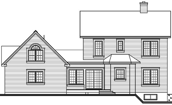 Rear Elevation of Country   Victorian   House Plan 65177