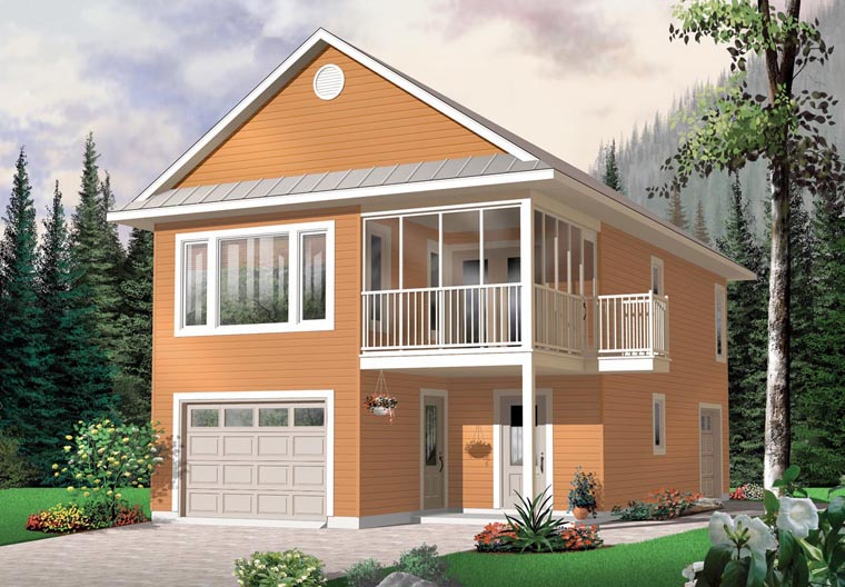 Traditional Style 2 Car Garage Apartment Plan Number 65215 with 2 Bed, 2  Bath