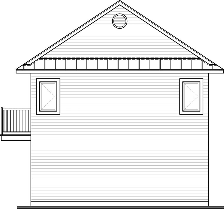 Traditional Rear Elevation of Plan 65215