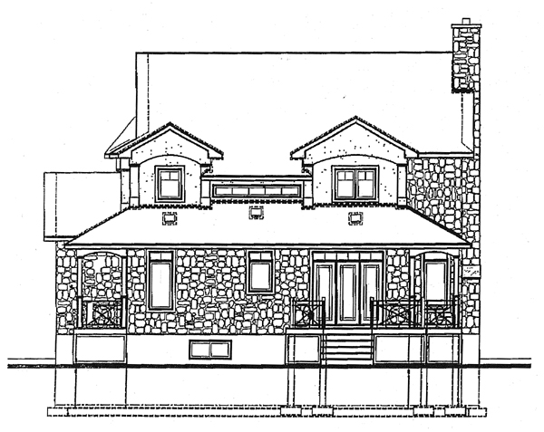 Country Farmhouse Southern Victorian House Plan 65223 Rear Elevation