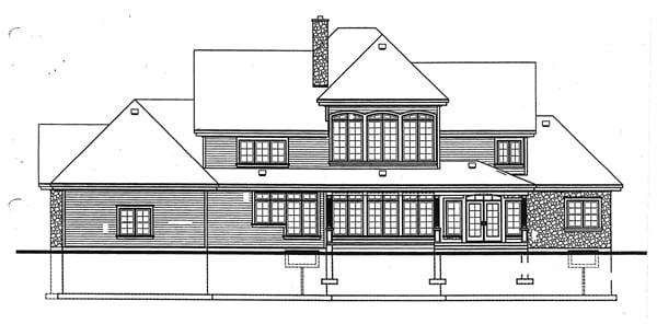 European Traditional House Plan 65240 Rear Elevation