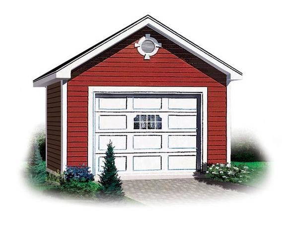 Traditional 1 Car Garage Plan 65245 Elevation