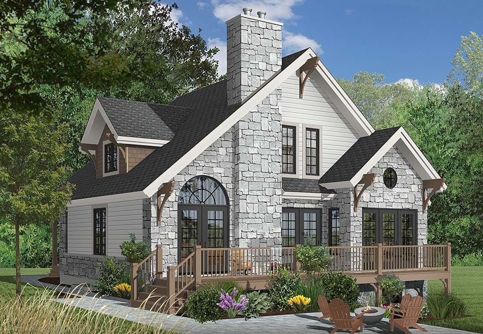 Bungalow Cottage Country Craftsman House Plan 65246 Rear Elevation