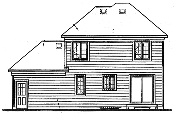 Rear Elevation of European   Victorian   House Plan 65248