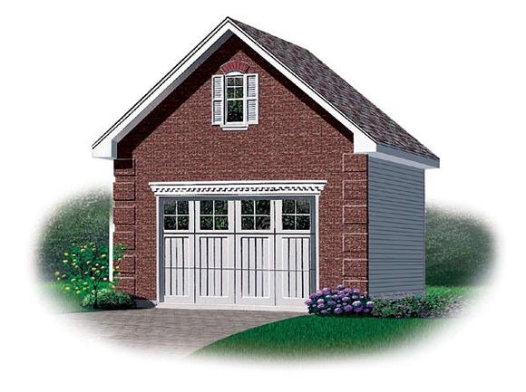 1 Car Garage Plan 65258 Elevation