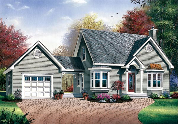 House plan 65285 at for Cottage home plans with garage