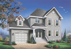 European House Plan 65300 with 3 Beds, 2 Baths, 1 Car Garage Elevation