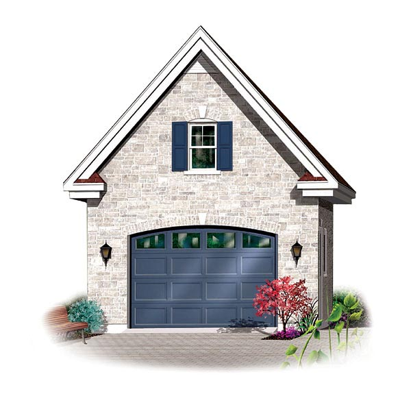 1 Car Garage Plan 65303 Elevation