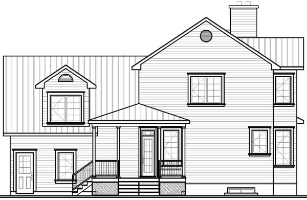 Country, Southern, Traditional, Victorian House Plan 65309 with 3 Beds, 3 Baths, 2 Car Garage Rear Elevation