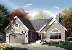One-Story , Traditional House Plan 65346 with 2 Beds, 1 Baths, 2 Car Garage Elevation