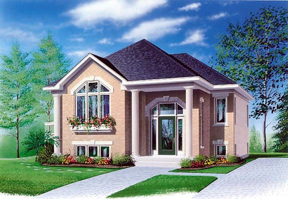 Elevation of Colonial   House Plan 65350