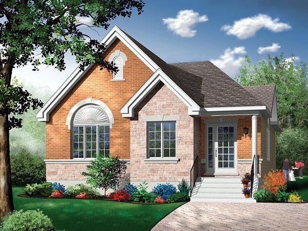 Narrow Lot, One-Story, Traditional House Plan 65351 with 3 Beds, 1 Baths Elevation