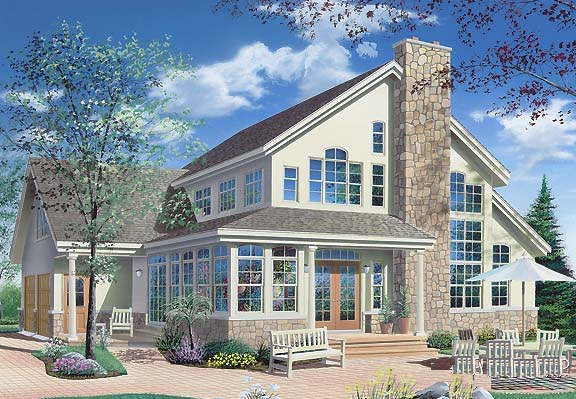 Contemporary Traditional House Plan 65368 Rear Elevation