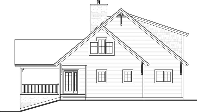 Cottage Country Craftsman House Plan 65379 Rear Elevation