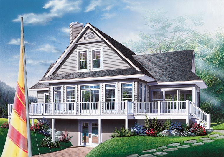 Rear Elevation of Coastal   Country   Craftsman   Traditional   House Plan 65380