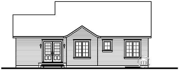 Bungalow Cabin Ranch House Plan 65395 Rear Elevation