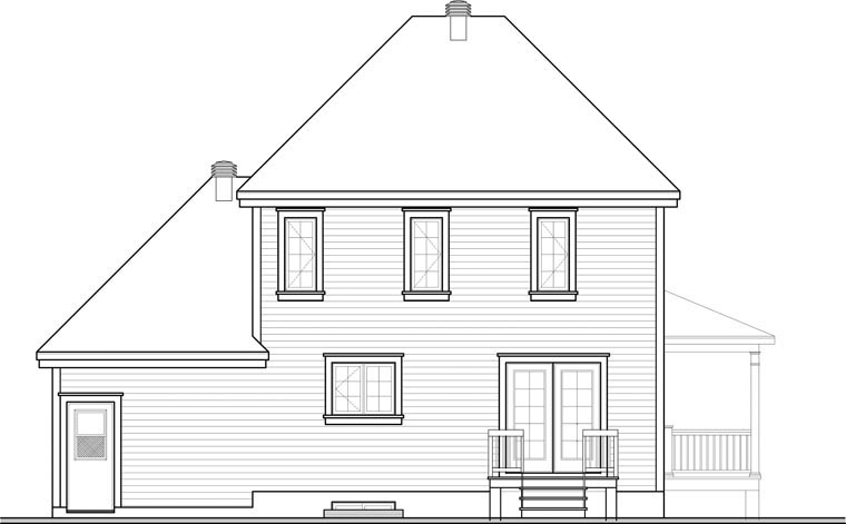 Rear Elevation of Country   House Plan 65418