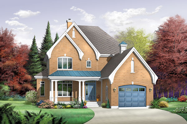 Country, Tudor House Plan 65419 with 3 Beds, 2 Baths, 1 Car Garage Elevation
