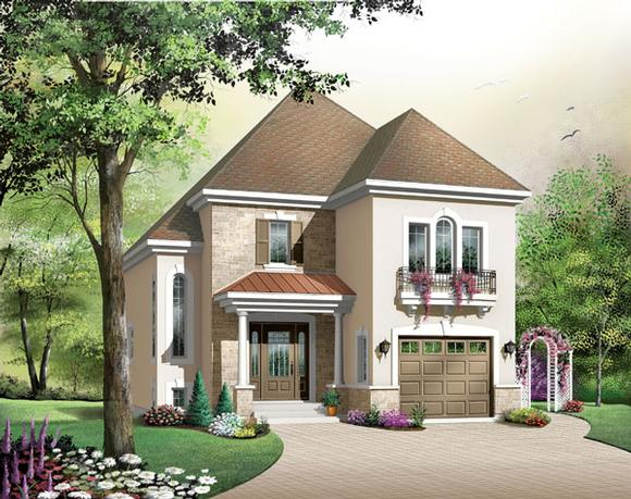 European, Narrow Lot House Plan 65420 with 3 Beds, 2 Baths, 1 Car Garage Elevation