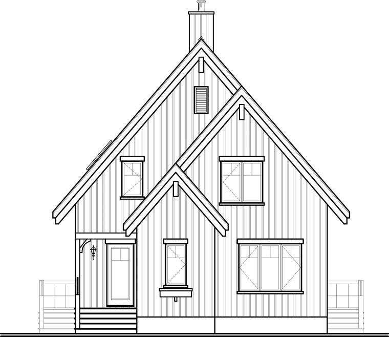 A-Frame House Plan 65446 Rear Elevation