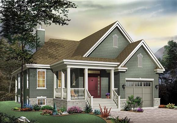 Country House Plan 65492 with 2 Beds, 1 Baths, 1 Car Garage Elevation