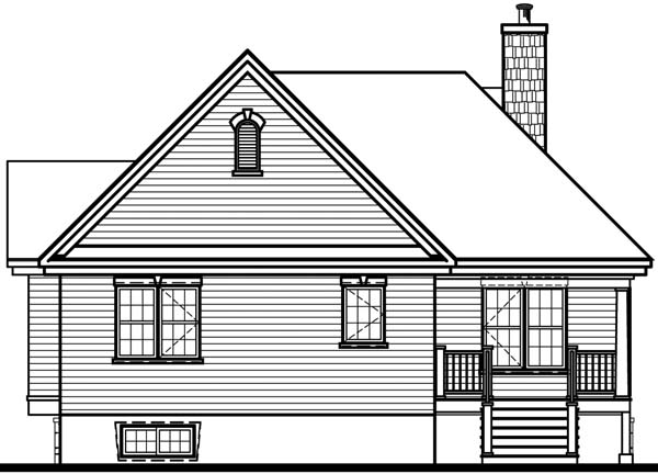 Country House Plan 65492 with 2 Beds, 1 Baths, 1 Car Garage Rear Elevation