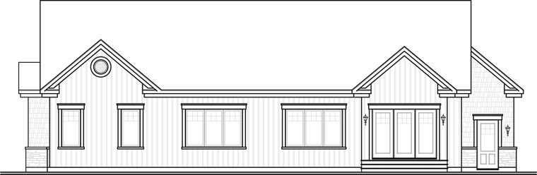 Bungalow Ranch House Plan 65493 Rear Elevation