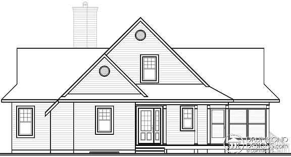Coastal Country Traditional House Plan 65494 Rear Elevation