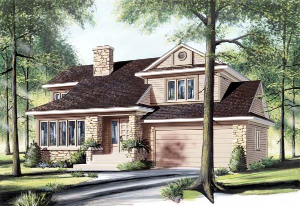 Craftsman, Traditional House Plan 65497 with 3 Beds, 2 Baths, 2 Car Garage Elevation