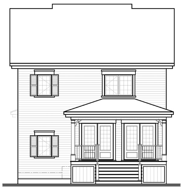 House Plan 65508 with 3 Beds, 2 Baths Rear Elevation