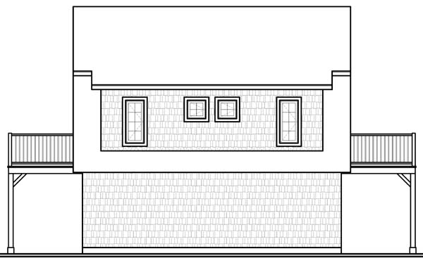 Country Farmhouse Ranch Rear Elevation of Plan 65516
