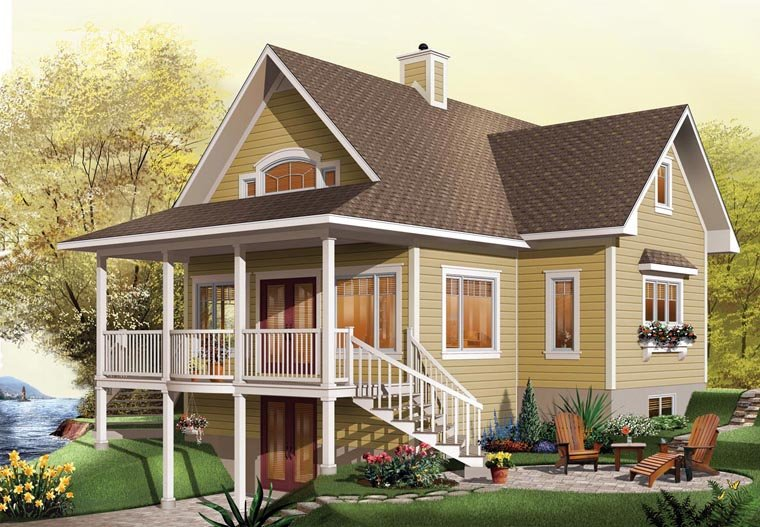 Elevation of Coastal   Country   Craftsman   Traditional   House Plan 65517