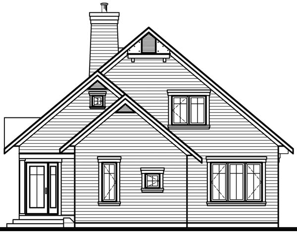 Country, Craftsman House Plan 65518 with 3 Beds, 2 Baths Rear Elevation