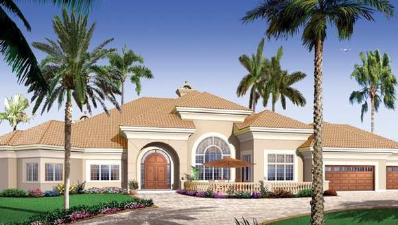 Florida, Mediterranean House Plan 65539 with 4 Beds, 3 Baths, 3 Car Garage Elevation