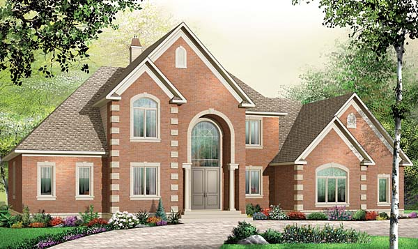 European House Plan 65558 with 5 Beds, 4 Baths, 3 Car Garage Elevation