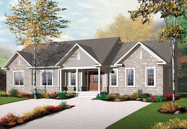 Multi-Family Plan 65574 with 3 Beds, 2 Baths Elevation