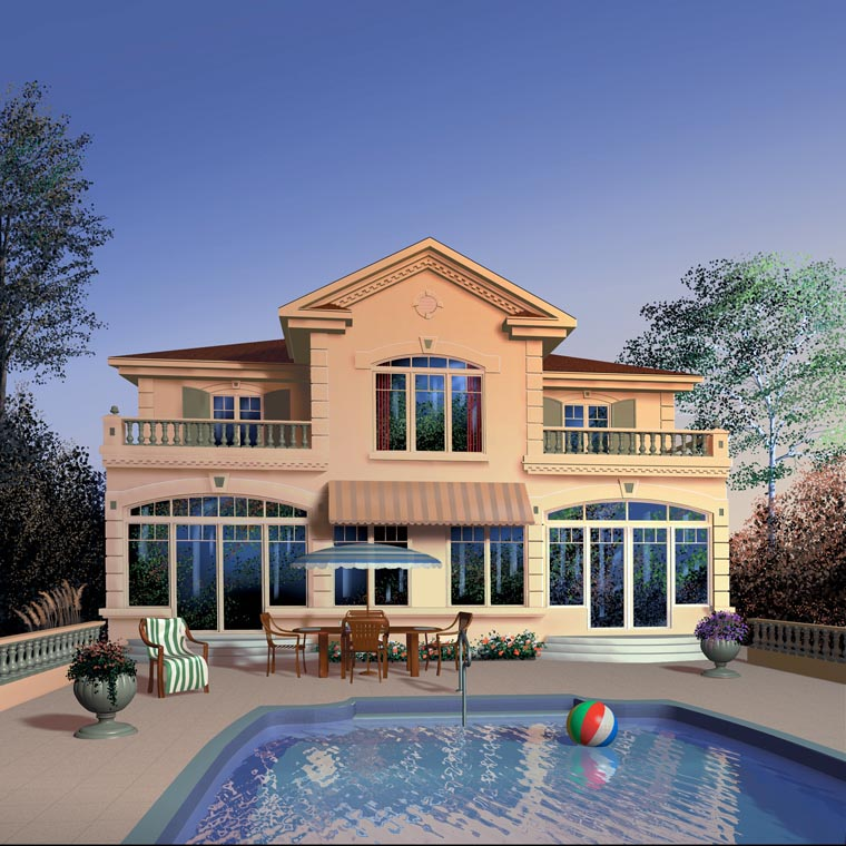 European, Florida House Plan 65587 with 4 Beds, 4 Baths Rear Elevation