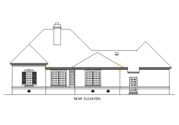 Colonial European Southern House Plan 65601 Rear Elevation