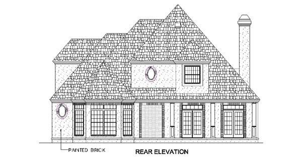 European House Plan 65608 Rear Elevation