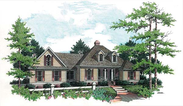 European, One-Story House Plan 65616 with 3 Beds, 3 Baths, 2 Car Garage Elevation