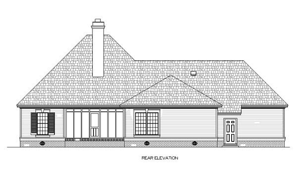 European, One-Story House Plan 65616 with 3 Beds, 3 Baths, 2 Car Garage Rear Elevation