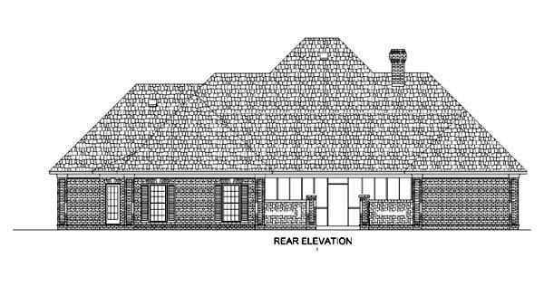 European House Plan 65632 Rear Elevation