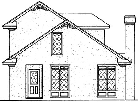 Bungalow, Mediterranean House Plan 65641 with 2 Beds, 2 Baths Rear Elevation